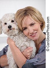 portret, kobieta, pies