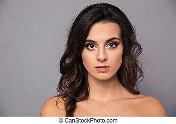 portret, kobieta, pociągający, piękno
