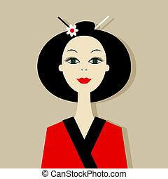 portret, kobieta, projektować, asian, twój