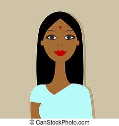 portret, kobieta, projektować, indianin, twój