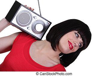 portret, kobieta, radio