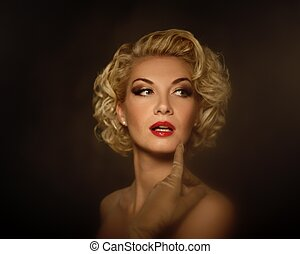 portret, kobieta, retro