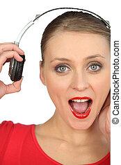 portret, kobieta, słuchawki