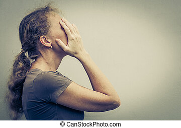 portret, kobieta, smutny, jeden