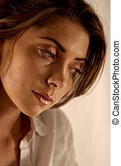 portret, kobieta, smutny