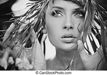 portret, kobieta, sprytny
