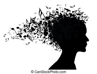 portret, kobieta, sylwetka, muzyka