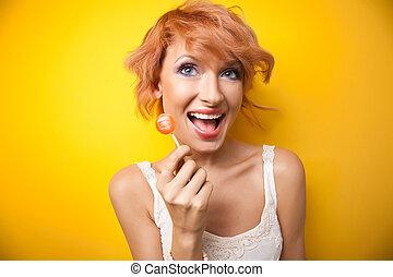 portret, kobieta, szczęśliwy
