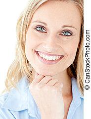 portret, kobieta uśmiechnięta, blond