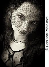 portret, kobieta, welon, młody