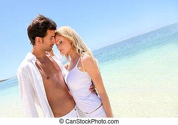 portret, kochany, para, plażowe wakacje