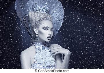portret, królowa, zima