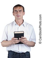 portret, książka, młody mężczyzna, ręka