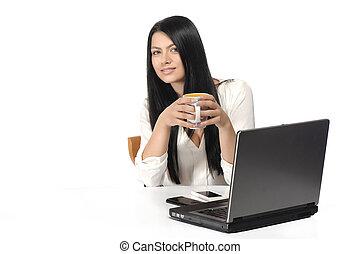 portret, laptop, kobieta handlowa, szczęśliwy