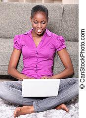portret, laptop, kobieta