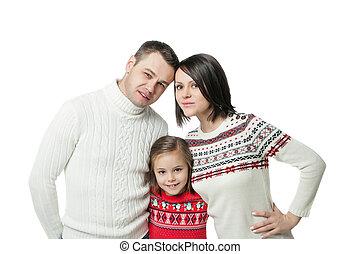 portret, młoda rodzina, szczęśliwy