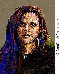 portret, malarstwo, cyfrowy, oryginał