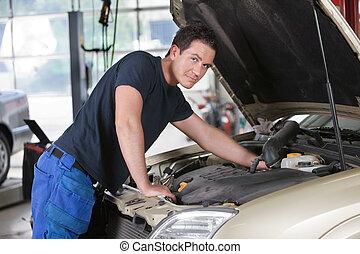 portret, mechanik, pracujący, wóz