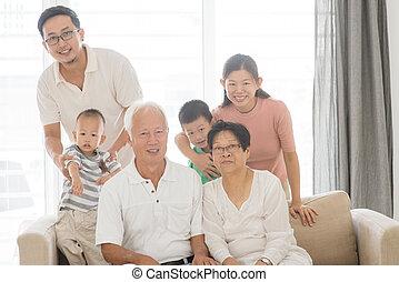 portret, multi, asian, generacje, rodzina