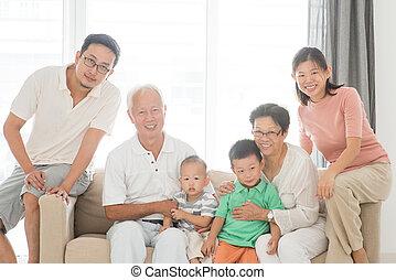 portret, multi, generacje, rodzina, szczęśliwy