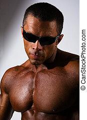 portret, muskularny, człowiek, szczelnie-do góry