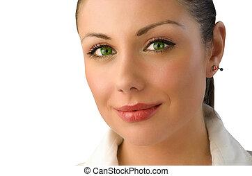 portret, oczy, magia, zielony, kobieta interesu