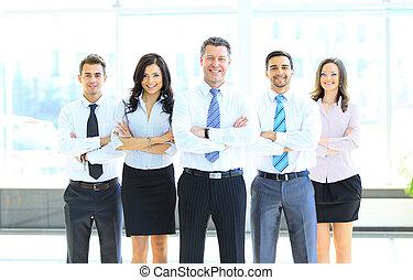 portret, od, biznesmen, przewodniczy, jego, drużyna, na, biuro