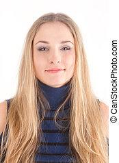 portret, od, blond, kudły, dziewczyna