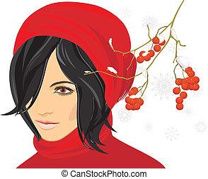 portret, od, brunetka, w, niejaki, czerwony biret