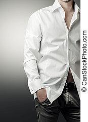 portret, od, człowiek, w, biały, luksus, koszula