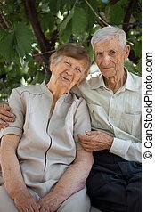 portret, od, dziadkowie