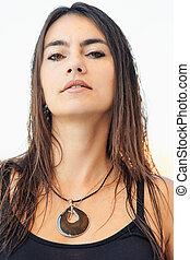 portret, od, elegancki, kobieta