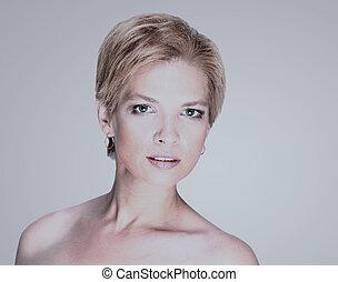portret, od, fason, piękno, kobieta, z, biały, krótki, hair.