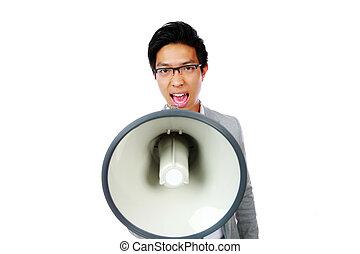 portret, od, młody, asian obsadzają, rozkrzyczany, z, megafon