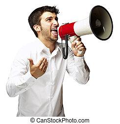 portret, od, młody mężczyzna, rozkrzyczany, z, megafon, na, białe tło