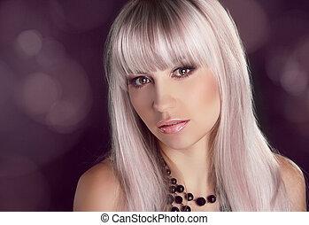 portret, od, młody, piękna kobieta, z, barwny, połyskujący, włosy, sztuka, fason, fotografia