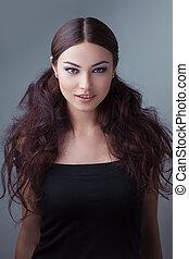 portret, od, młody, piękny, girl., fason, fotografia