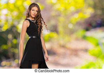 portret, od, na, pociągający, modny, młody, brunetka, woman.