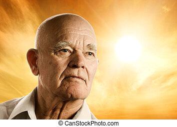 portret, od, na, starszy człowiek