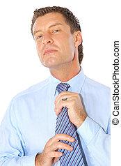 portret, od, niejaki, biznesmen, zamocowywanie, krawat