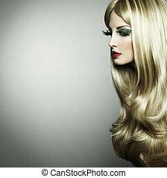 portret, od, niejaki, blond, kobieta, z, długi, rzęsy