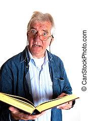 portret, od, niejaki, czytanie, starszy człowiek