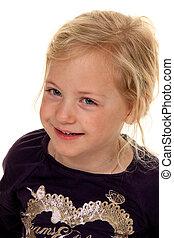 portret, od, niejaki, girl., child\'s, head.