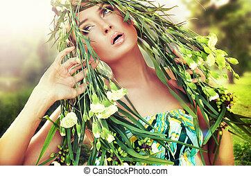 portret, od, niejaki, kobieta, z, kwiat, w, jej, włosy
