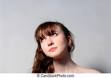 portret, od, niejaki, młoda kobieta, na, szary
