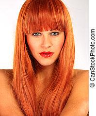 portret, od, niejaki, młoda kobieta, z, czerwony włos, i, zielone wejrzenie