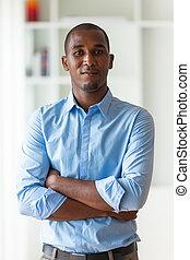 portret, od, niejaki, młody, afrykańska amerikanka, handlowiec, -, czarnoskóry, ludzie