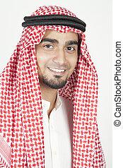 portret, od, niejaki, młody, arab