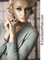 portret, od, niejaki, młody, blondynka, kobieta