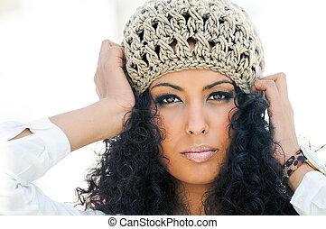 portret, od, niejaki, młody, czarna kobieta